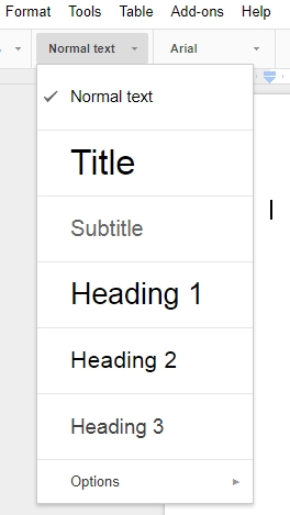 google-table-headings