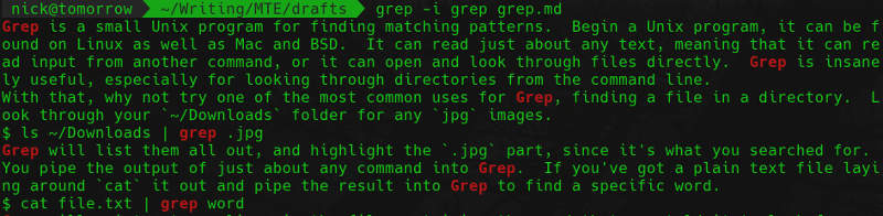 grep in a file