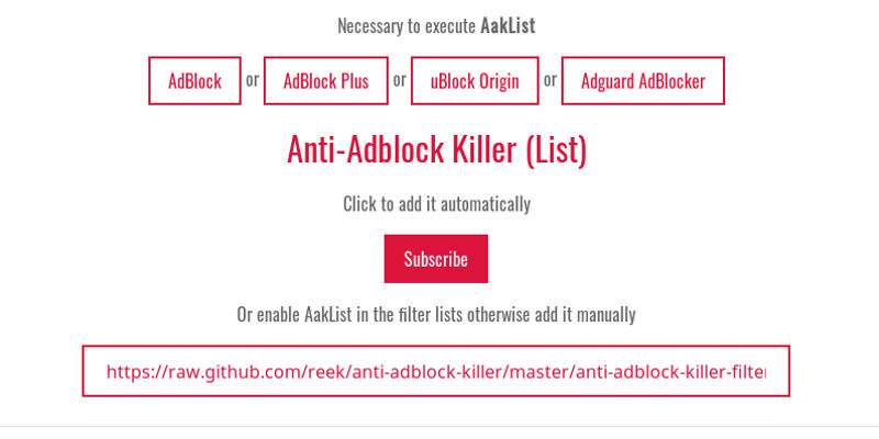 Install Anti-Adblock Killer definition list