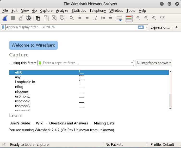 Kali Linux Wireshark