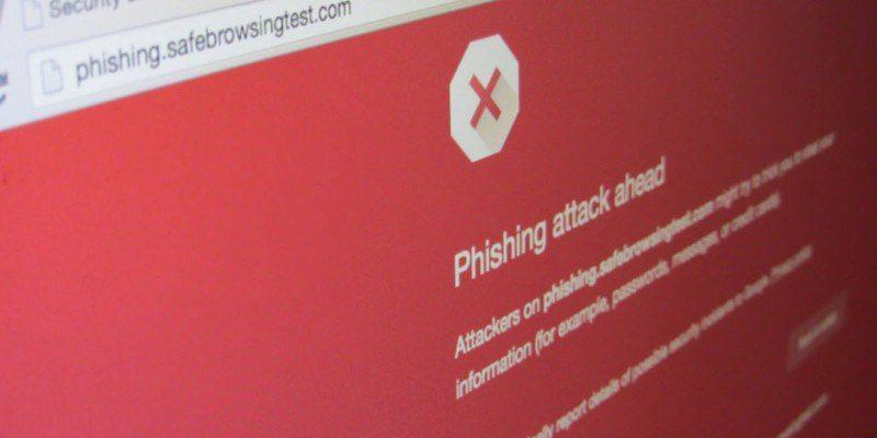 Screenshot of Phishing attack warning in Chrome