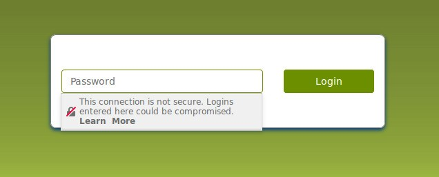 Firefox shows an insecure warning on forms that are loaded over HTTP