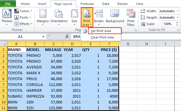 How to Set the Print Area on Multiple Excel Worksheets