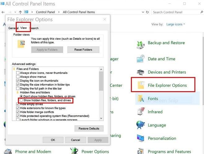 how show hidden files in windows 10