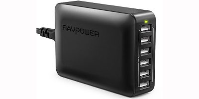 RAVPower 6-Port USB Desktop Charger with iSmart Technology Now More than 50% Off