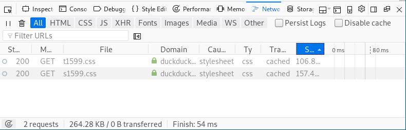Firefox inspector network tab