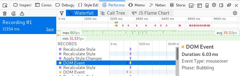 Firefox inspector performance tab