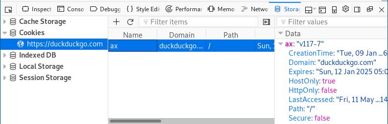 Firefox inspector storage tab
