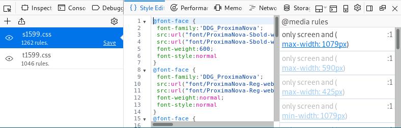 Firefox inspector style tab