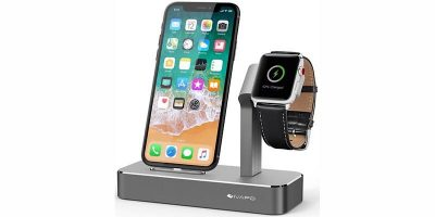 iVAPO 2-in-1 Aluminum Apple Watch & iPhone Charging Station, Now 72% Off