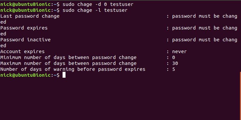 Force A User To Change Password Linux