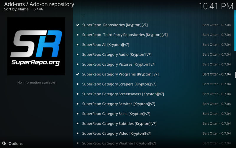 Add SuperRepo Program add-ons