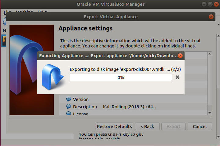 VirtualBox Exporting OVA