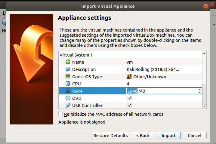 VirtualBox Import Settings