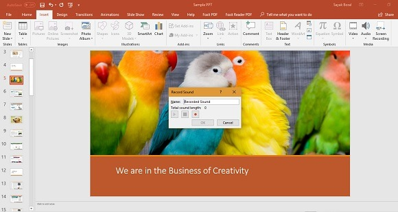 Record Sound in PowerPoint 2010