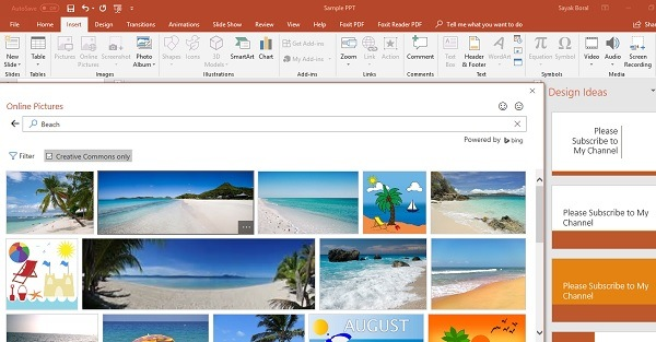 Insert online pics with PowerPoint 2010