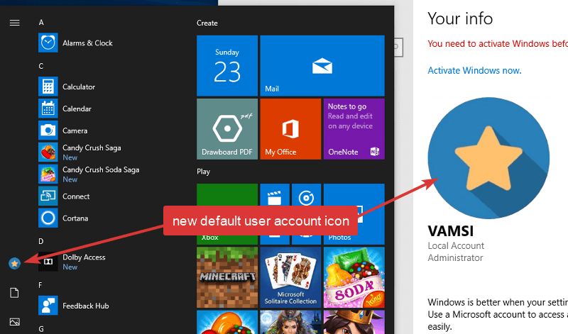 How to Change Default User Account Picture in Windows 10
