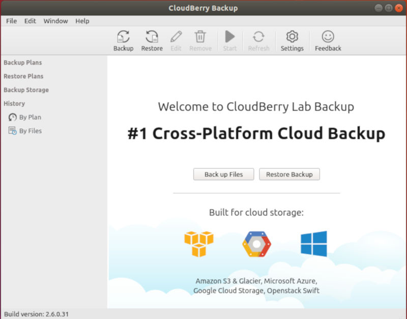 CloudBerry Backup Home Screen