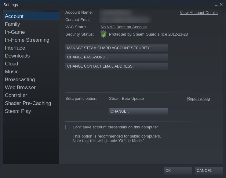Steam Settings