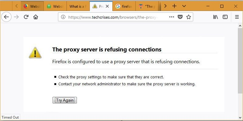 How to Fix Firefox Proxy Server Connection Refusal Error