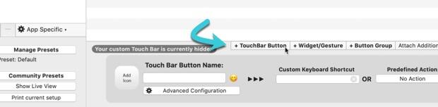 customize-touch-bar-bettertouchtool-add-button