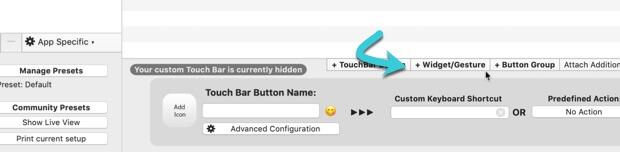 customize-touch-bar-bettertouchtool-add-widget