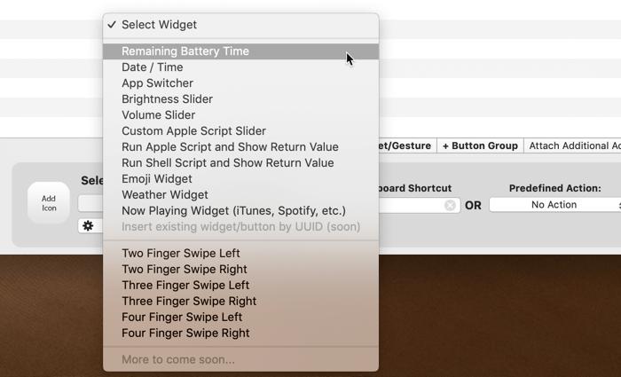 customize-touch-bar-bettertouchtool-widget-action