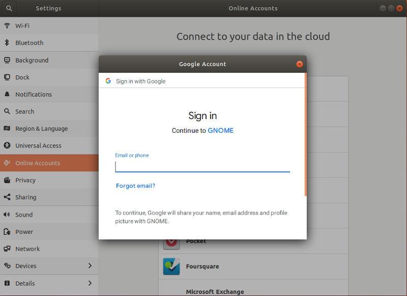 Enter Google Password GNOME