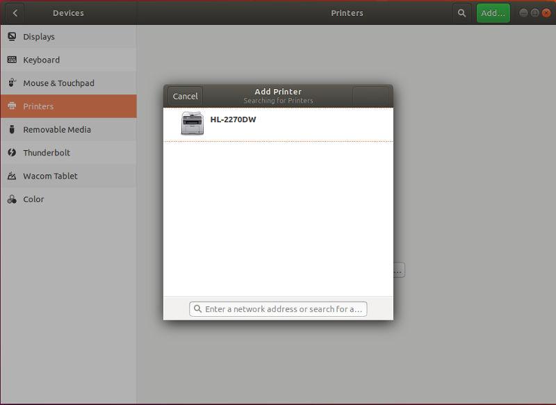 GNOME Printer List