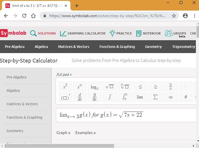 Symbolab Limits equation step 1