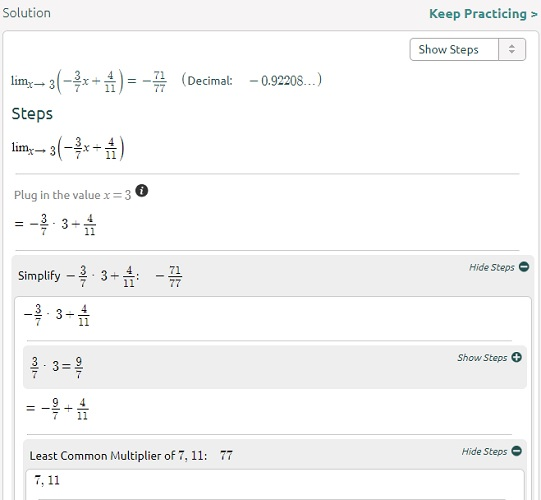 Symbolab limits equation step 2