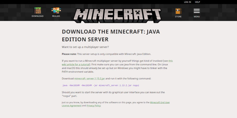 Minecraft Download Page