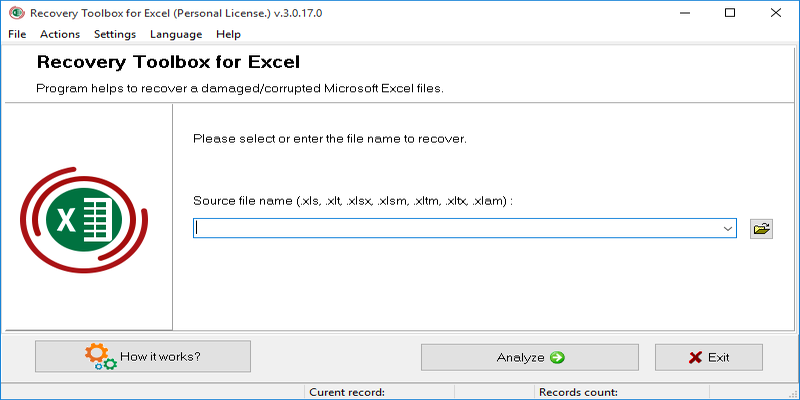 how to recover a excel file
