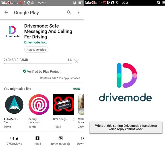 Drivemode Safe Messaging Settings Hands-free