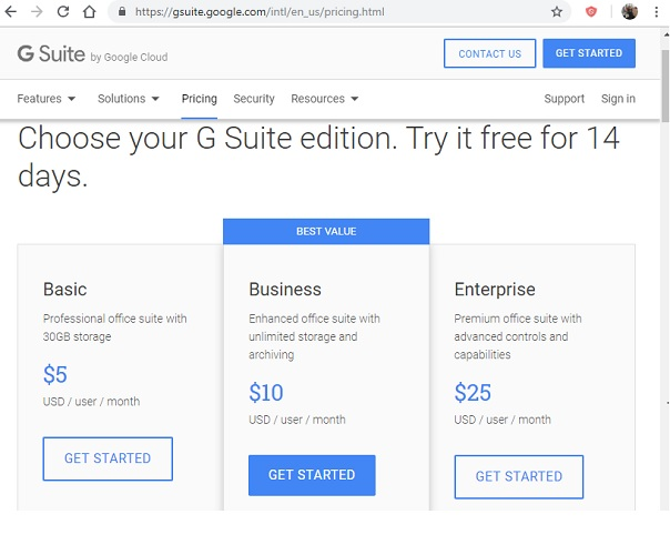 G Suite Pricing Comparison