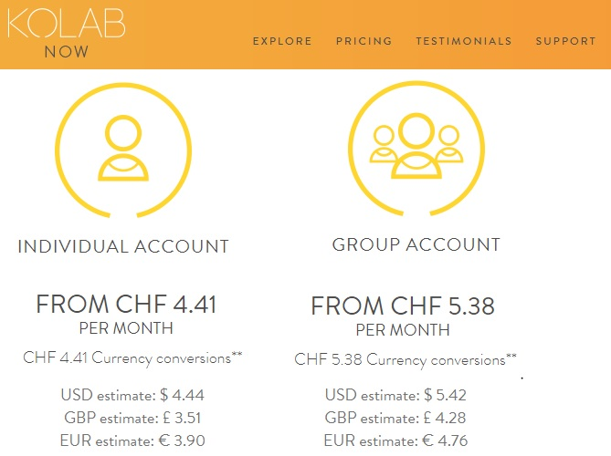 Kolab Now Pricing Comparison