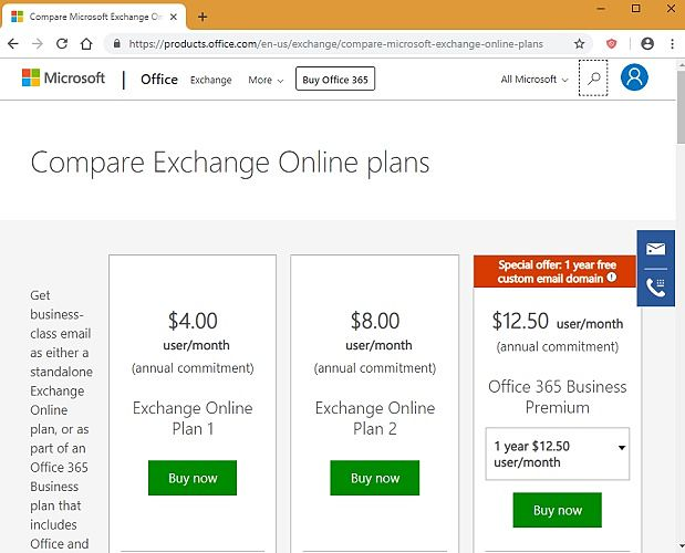 Microsoft Exchange Pricing Plans Compared