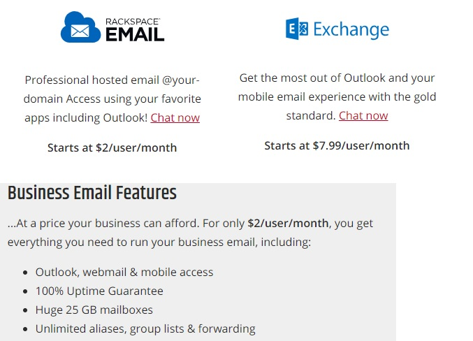 Rackspace Email Hosting Offerings