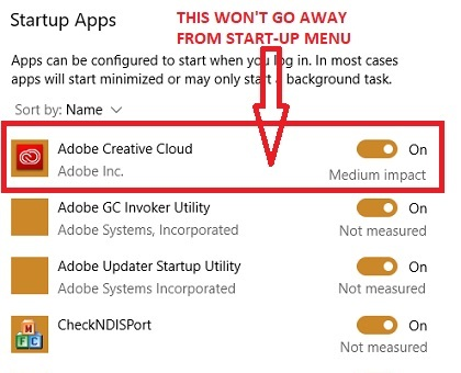 Adobe Creative Cloud in Start Menu