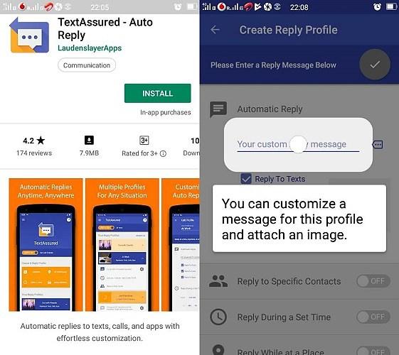 TextAssured Auto Reply customization screenshots