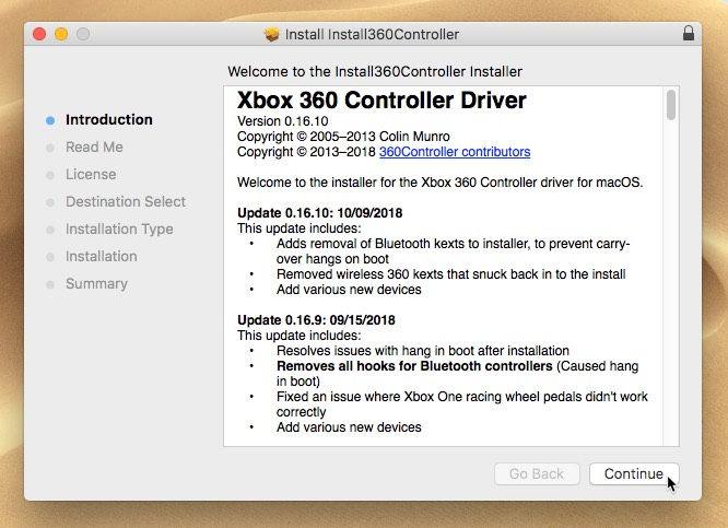 connect-xbox-one-controller-to-mac-controller-installer-start