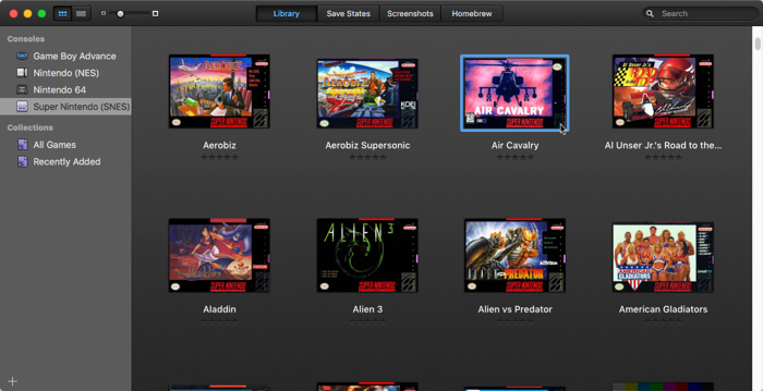 openemu-emulate-retro-games-macos-library-view