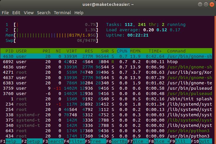 ubuntu-memory-htop