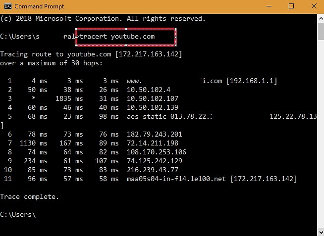 tracert-youtubedotcom-command-prompt-screenshot