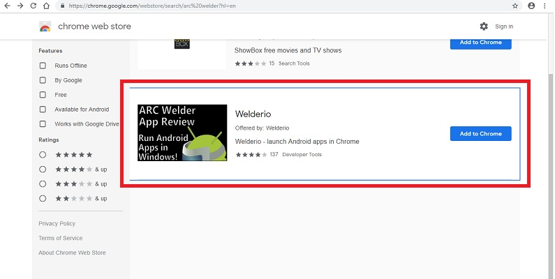 Welderio extension on Chrome
