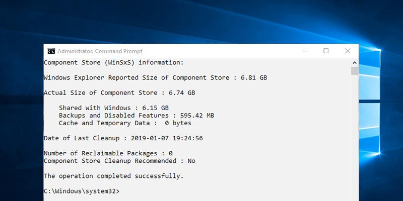 Как просмотреть и очистить хранилище компонентов в Windows 10