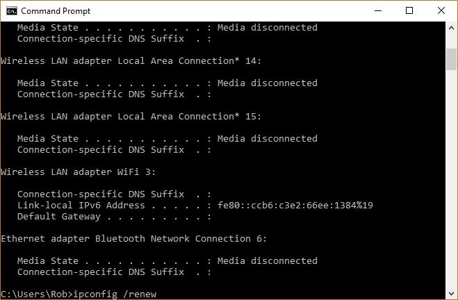 ipconfig renew not working windows 10