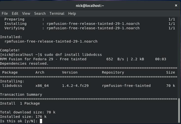 Install libdvdcss on Fedora