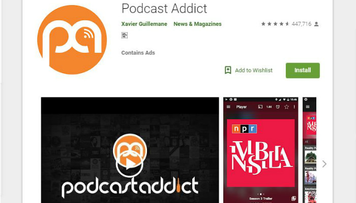 podcast addict android playlist