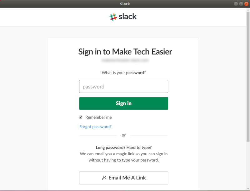 Slack Enter Password